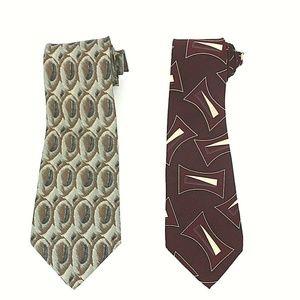 Halston Lot of 2 Men's Designer Silk Ties NWOT 493